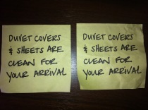 Clearly pre-printed, but still a nice touch! These post-its were over each bed.