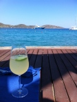 Having a glass of wine at the Sailing Bar upon arrival