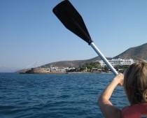 Kayaking towards the Elounda Beach Resort