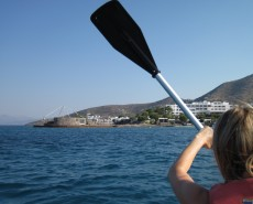 Kayaking towards the Elounda Beach Resort