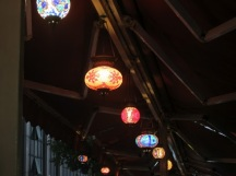 Beautiful lanterns under the awning covering the tables where we dined