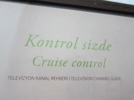 "The holder for the TV remote control at the DoubleTree Hotel in Istanbul (reviewed at: http://wp.me/pWFid-vd) labeled ""cruise control"", like a car :-)"