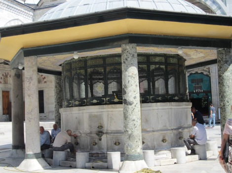 Foot washing station in the Mosque's courtyard