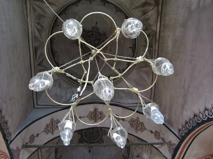 Close-up of one of the chandelier