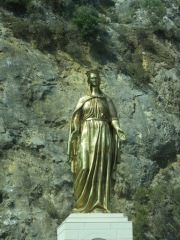 Gold Statute of the Virgin Mary along the way between the House of the Virgin and the ancient city of Ephesus