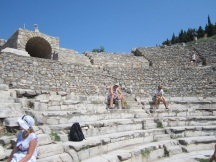 """Some of our Aussie tour-""""mates"""", checking out the view from the seats in the Odeon"""