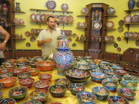 Our tour guide in the ceramics store
