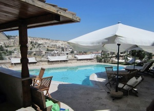 The pool area, with a lovely backdrop