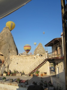 Some of the hot air balloon tours in the area coming up behind the hotel