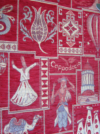 Cool tablecloth with a lot of traditional images & symbols from the region