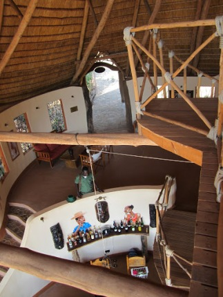 Tongole: View of the entrance of the lodge behind the bar, as seen from the 2nd floor seating/dining area