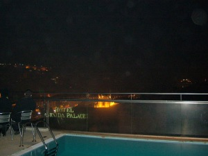 Looking off the hotel rooftop to see fireworks