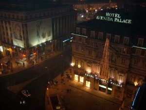 View of the Restauradores Square and Avenida Palace Hotel from our hotel, the VIP Eden