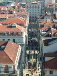 View from the lift of one of the shopping streets