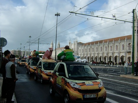 Some of the promo cars lined up in front of the Jeronimos Monastery